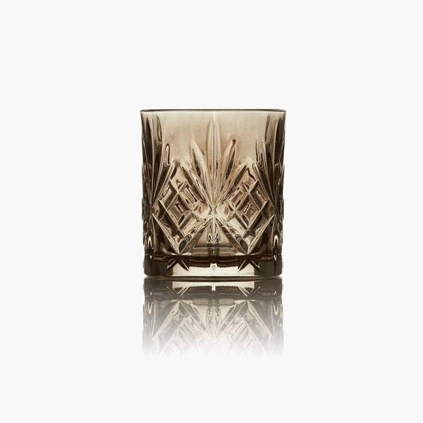 Lyngby Melodia sort Krystal whisky glas 31 cl (4 stk.)