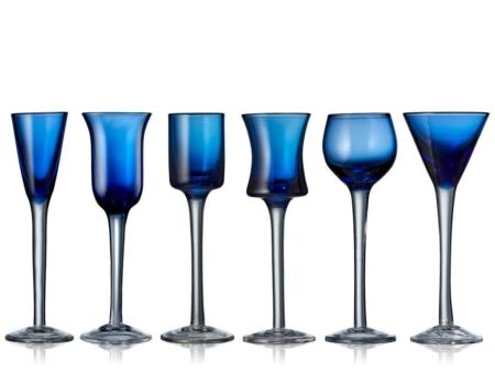 Snapseglas Lyngby p/fod (6 forskellige) Blå