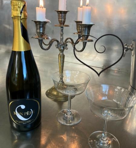 """UGENS TILBUD: """"Champagne- sæt"""" - Mon Père- Vino spumante og 6 stk Champagneglas i krystal"""